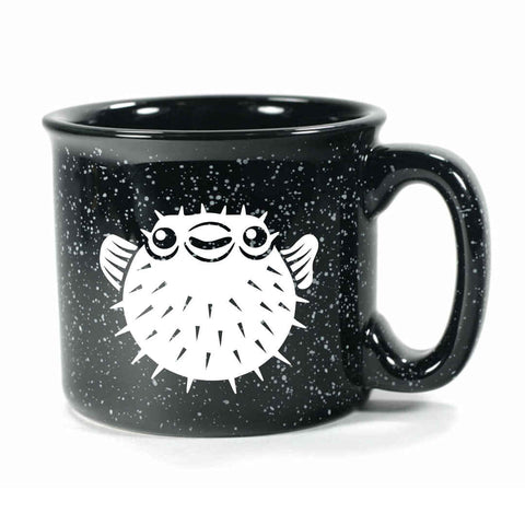 Black Puffer Fish camp mug by Bread and Badger
