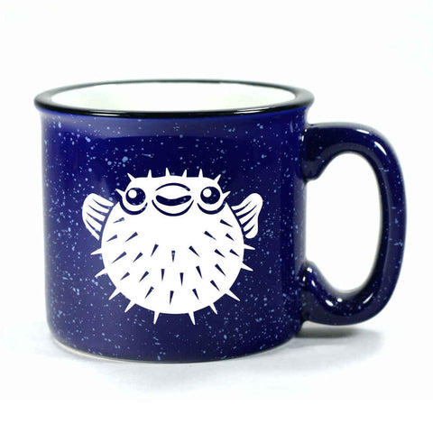Navy Blue Puffer Fish camp mug by Bread and Badger