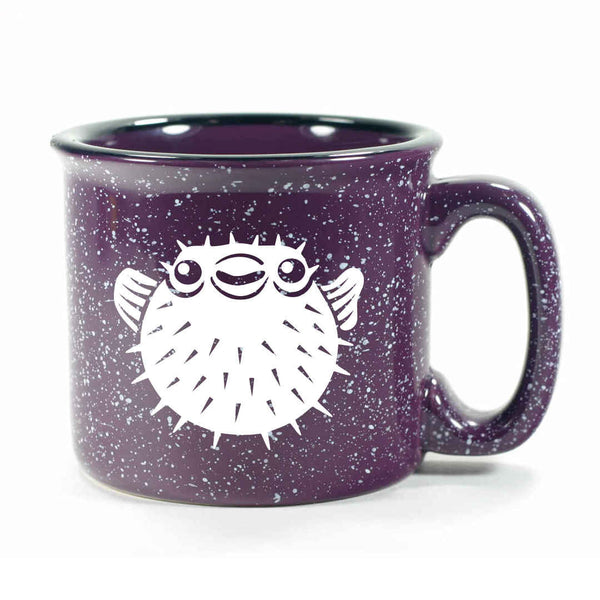 Purple Puffer Fish camp mug by Bread and Badger