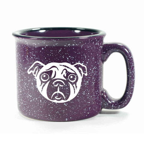 Purple Pug camp mug by Bread and Badger