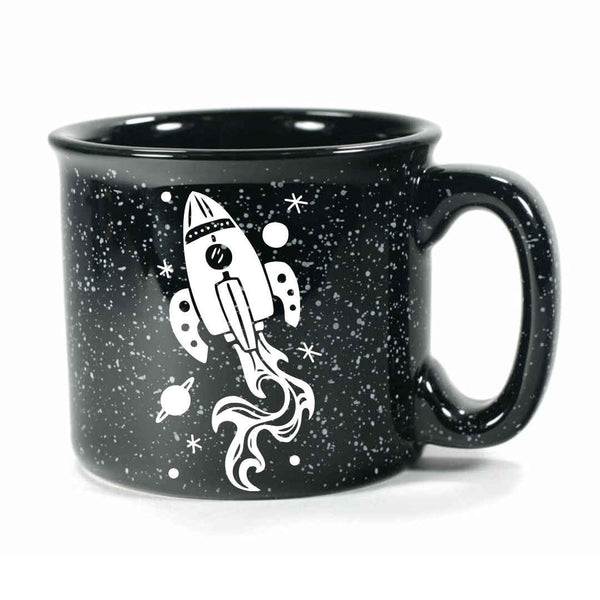 Black Rocket Ship camp mug by Bread and Badger