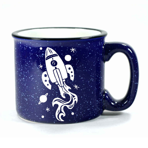 navy blue rocket ship camp mug