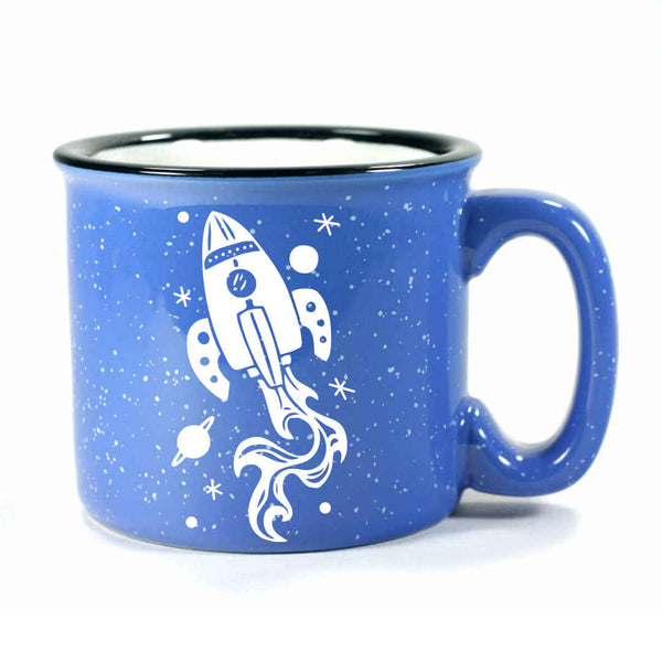 ocean blue rocket ship camp mug