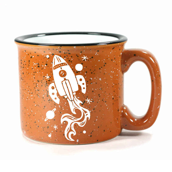 Rust Rocket Ship camp mug by Bread and Badger