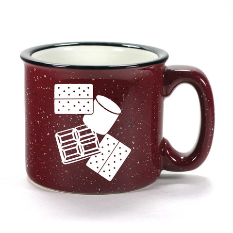 S'mores camp mug in burgundy by Bread and Badger