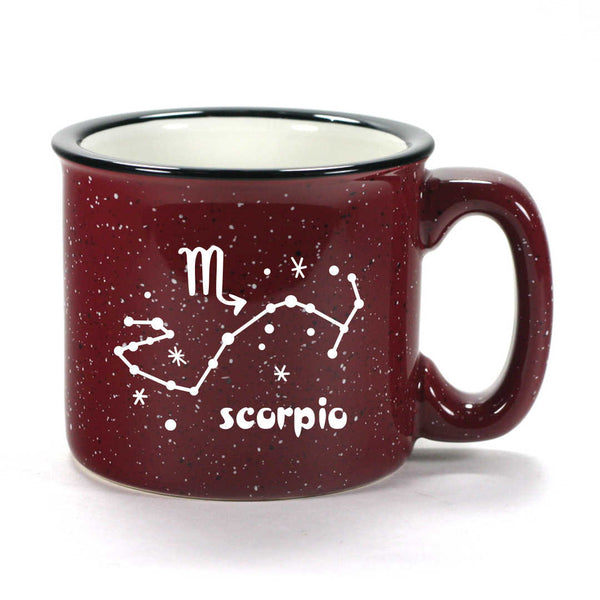 scorpio constellation camp mug, burgundy, by Bread and Badger