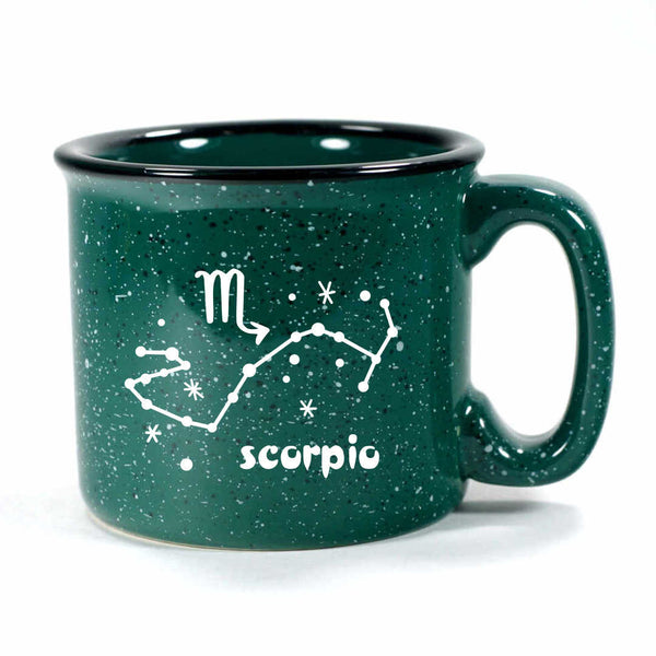 scorpio constellation camp mug, forest green, by Bread and Badger