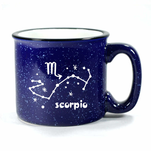 scorpio constellation camp mug, navy blue, by Bread and Badger