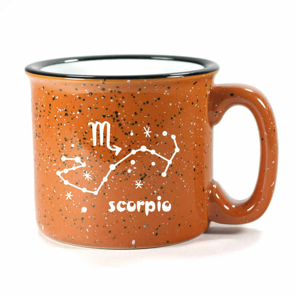 scorpio constellation camp mug, rust, by Bread and Badger