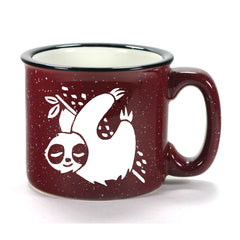 Burgundy Sloth camp mug by Bread and Badger