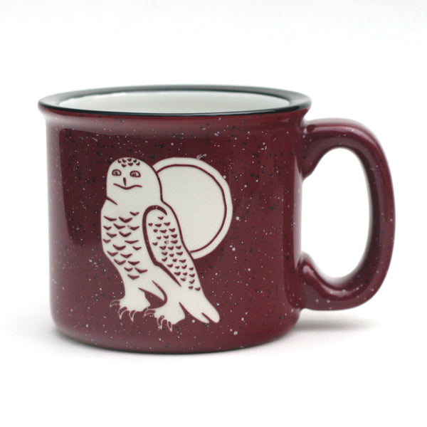 Snowy Owl Camp mug, burgundy, by Bread and Badger