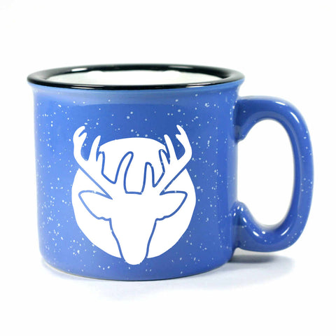 Deer Head camp mug, ocean blue, by Bread and Badger