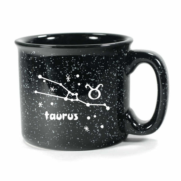 taurus constellation camp mug, black, by Bread and Badger