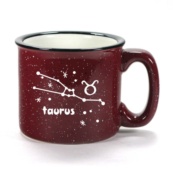 taurus constellation camp mug, burgundy, by Bread and Badger