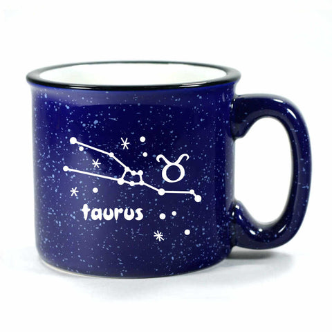 taurus constellation camp mug, navy blue, by Bread and Badger
