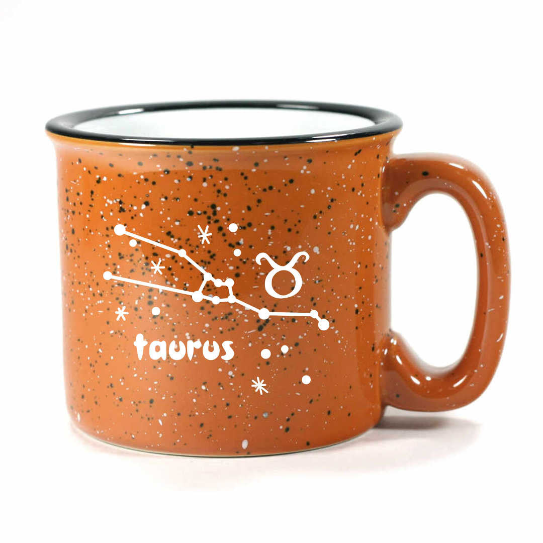 taurus constellation camp mug, rust, by Bread and Badger