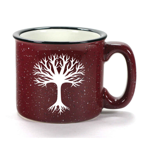 Burgundy Tree camp mug by Bread and Badger