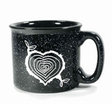 tree stump heart black ceramic camp mug