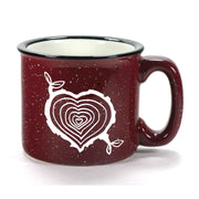 Burgundy Tree Stump Heart camp mug by Bread and Badger