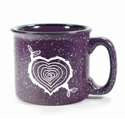 Purple Tree Stump Heart camp mug by Bread and Badger