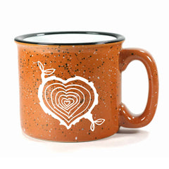 Rust Tree Stump Heart camp mug by Bread and Badger