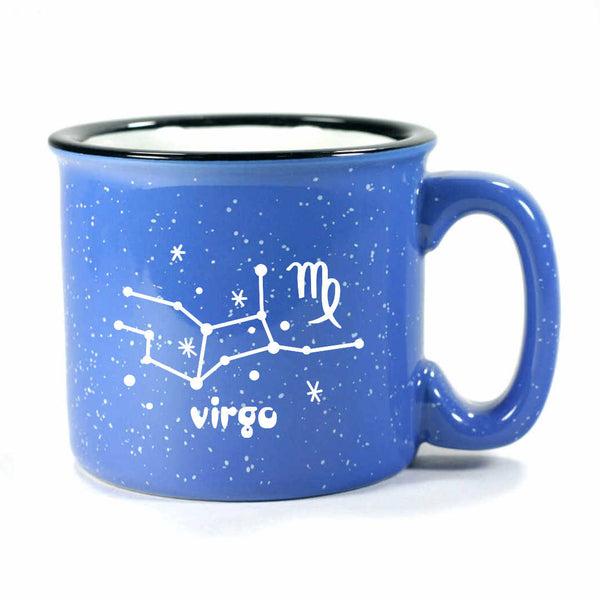 virgo constellation camp mug, ocean blue, by Bread and Badger