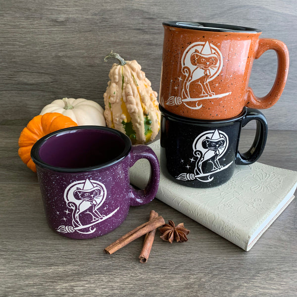 Witch Cat camp mugs by Bread and Badger