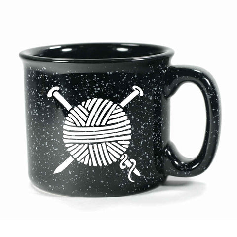 Black Knitting camp mug by Bread and Badger