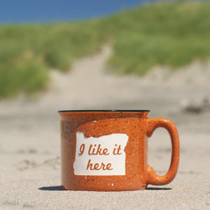 "Oregon ""I like it here"" state camp mug"