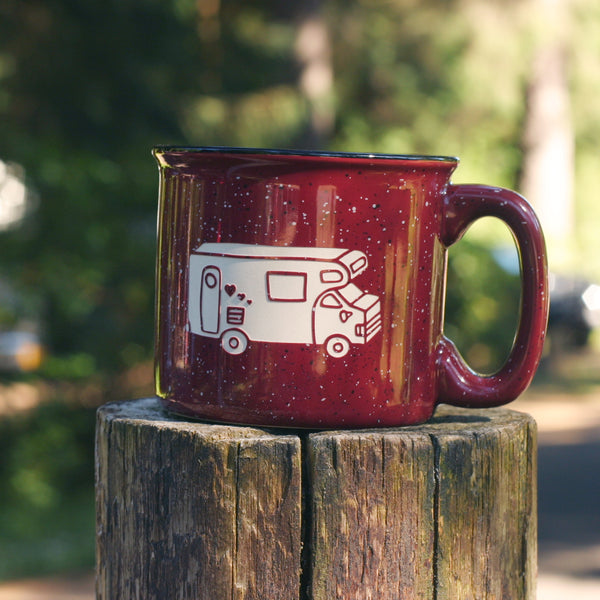 RV Camper Van camp mug in burgundy by Bread and Badger