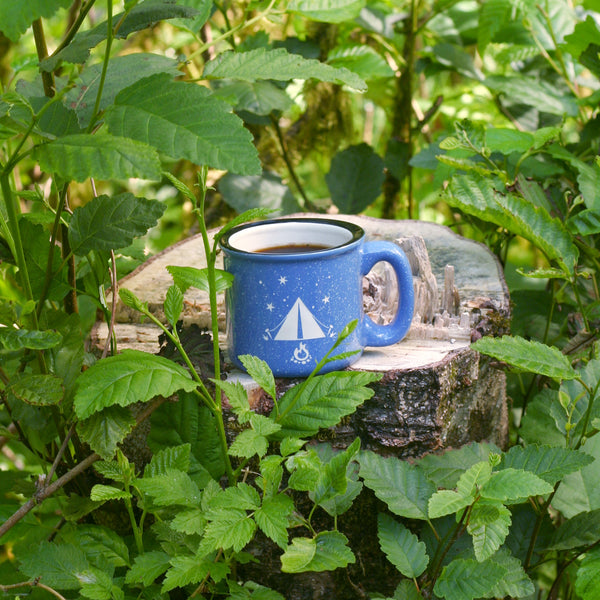 Tent camp mug in ocean blue by Bread and Badger