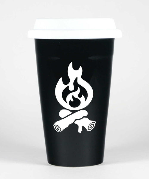 Campfire travel mug, black, by Bread and Badger