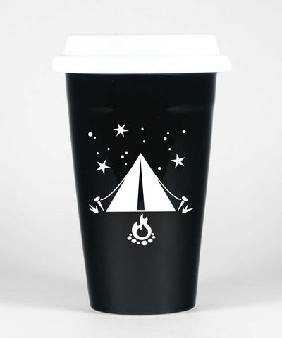 Tent camping travel mug, black, by Bread and Badger