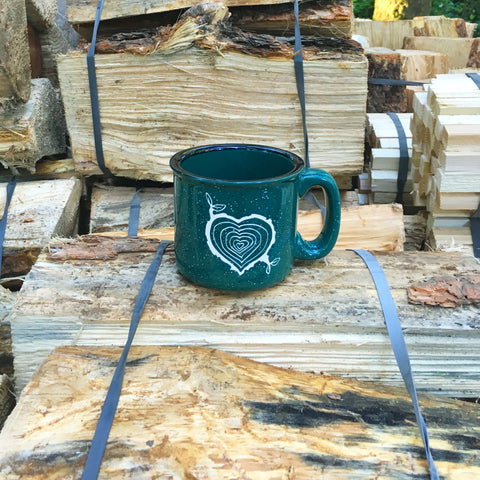 Tree Stump Heart camping mug in forest green