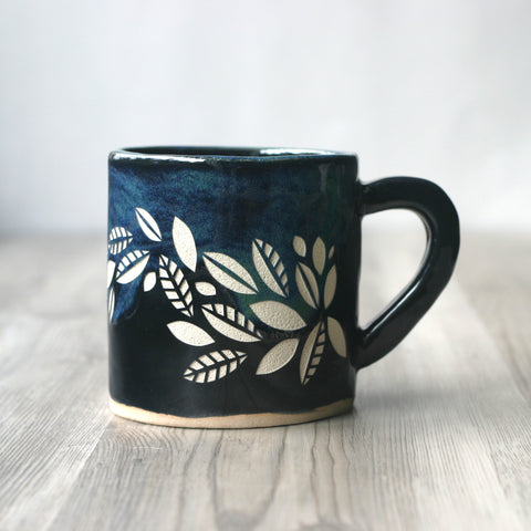 Tea Leaves Mug, Cascade Style Handmade Pottery