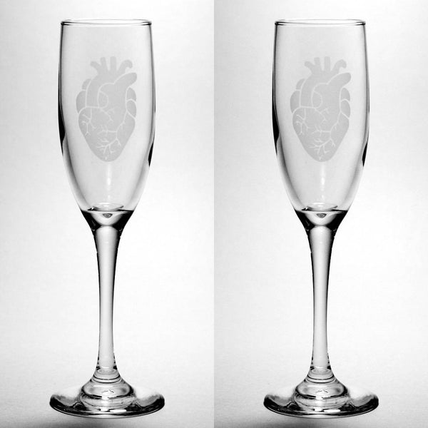 Anatomical Heart Champagne Flutes Set of 2