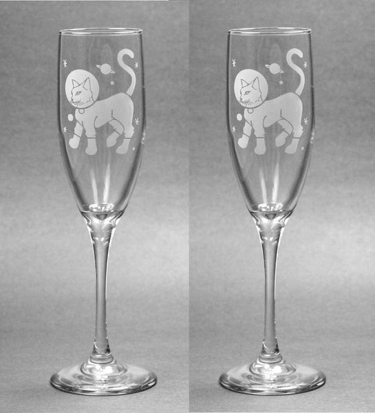 Astronaut Cat Champagne Flutes Set of 2
