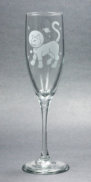 astronaut kitty cat champagne flutes