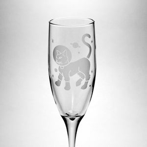 cat in space champagne glass