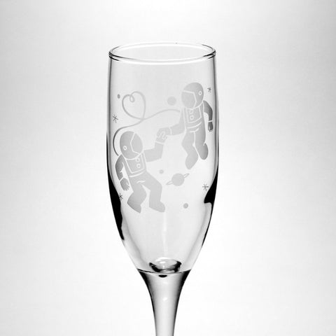 Astronaut love champagne flutes