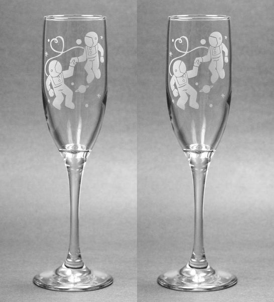 Astronaut Love Champagne Flutes Set of 2