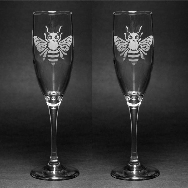 Honey Bee Champagne Toasting Flutes Set of 2