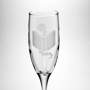 bookworm champagne flute