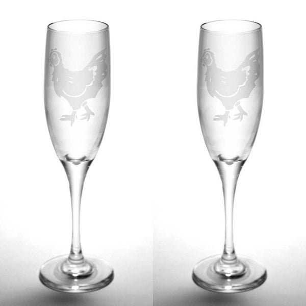 Chicken champagne flute set of 2