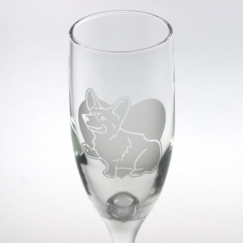 Corgi pet portrait champagne flute by Bread and Badger