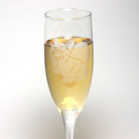 Corgi dog champagne glass by Bread and Badger