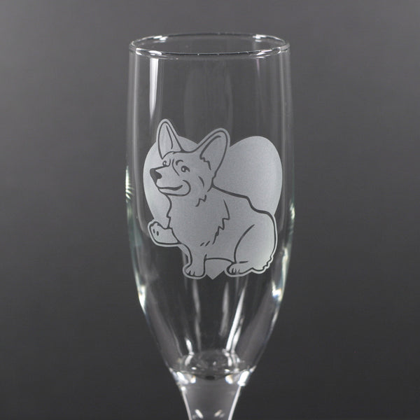 Corgi dog champagne flute by Bread and Badger