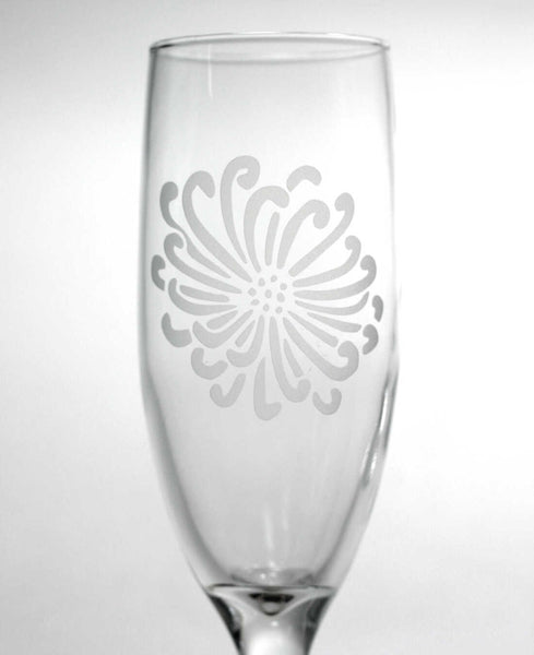 Chrysanthemum Flower champagne flute by Bread and Badger