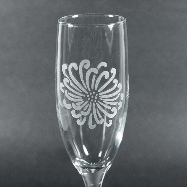 Chrysanthemum Flower champagne glass by Bread and Badger