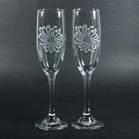 Chrysanthemum Flower champagne flutes set of 2